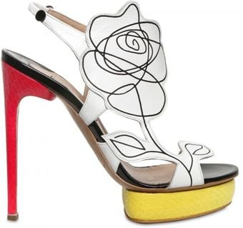 Nicholas Kirkwood 130mm Leather Flower & Elaphe Sandals - Lyst