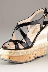 Prada Cork Patent Leather Rope Trim Platform Espadrille - Lyst
