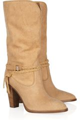 Ralph Lauren Collection Nala Mid-calf Brushed-leather Boots - Lyst