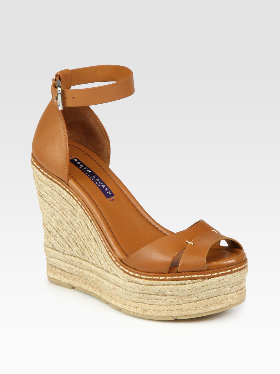 ralph lauren collection firama leather espadrille wedge sandals in brown tan lyst. Black Bedroom Furniture Sets. Home Design Ideas