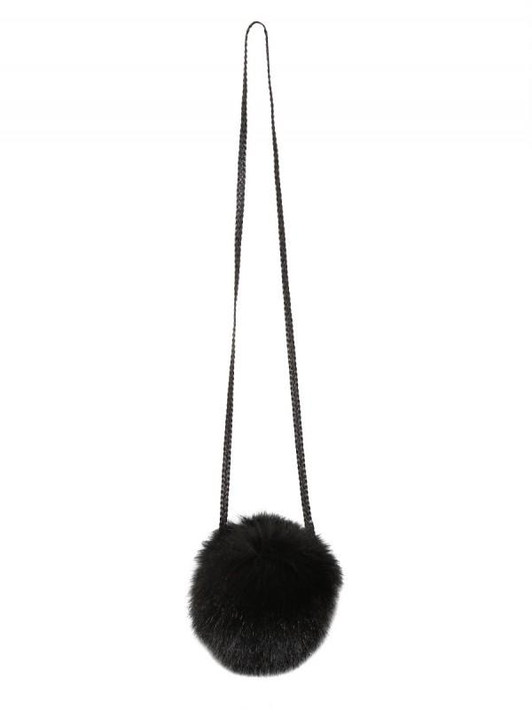 Simonetta ravizza Fox Fur Shoulder Bag in Black | Lyst