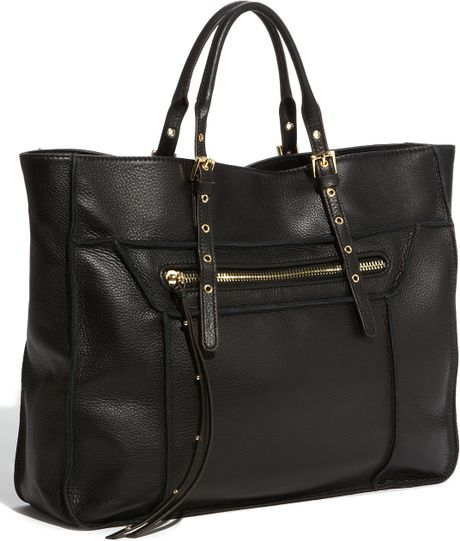 steven by steve madden france leather tote in black lyst. Black Bedroom Furniture Sets. Home Design Ideas