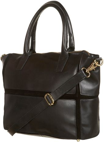 Topshop Black Leather Panel Tote Bag - Lyst