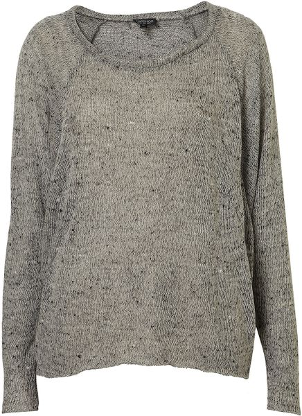 Topshop Speckle Panel Sweat Top in Gray (grey) - Lyst