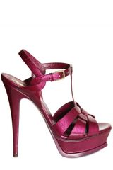 Saint Laurent 140mm Tribute Glossy Patent Sandals - Lyst