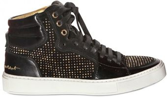 Yves Saint Laurent Studded Suede and Patent Leather Hightop Sneakers - Lyst