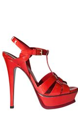 Yves Saint Laurent 140mm Tribute Patent Sandals in Red - Lyst