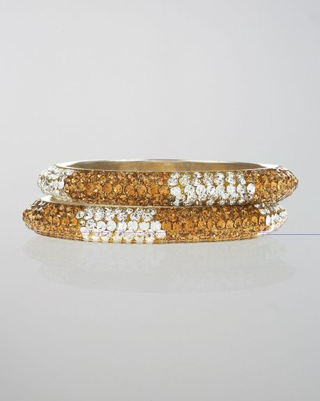 Chamak By Priya Kakkar TwoTone Pave Crystal Bangle Set in Gold (null) - Lyst