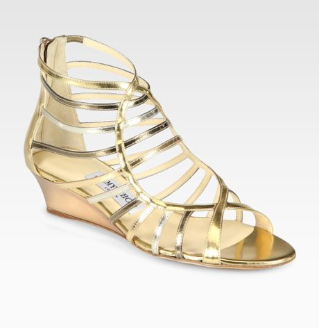Jimmy Choo Hedda Metallic Leather Gladiator Wedge Sandals in Gold - Lyst