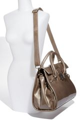 Jimmy Choo Rosalie Patent Leather Satchel in Khaki (light khaki) - Lyst