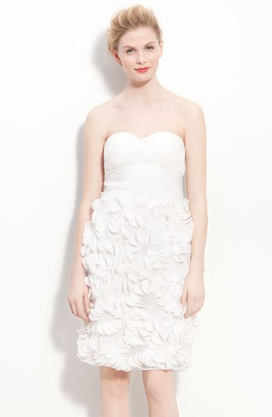 Js Collections Chiffon Petal Strapless Sheath Dress in White (ivory)