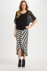 Red Haute Striped Asymmetrical Ruffle Skirt in Gray (black) - Lyst