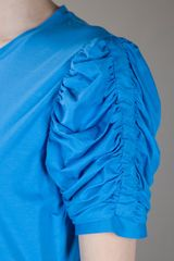 Yves Saint Laurent Ruched Detail Dress in Blue - Lyst
