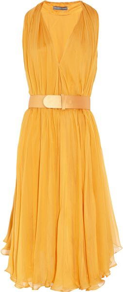 Alexander Mcqueen Belted Silk-Chiffon Dress in Yellow
