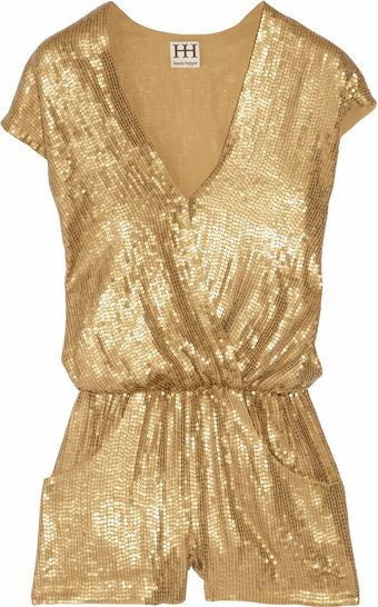 Haute Hippie Sequined Silk Playsuit - Lyst