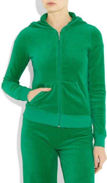 Juicy Couture Velour Hooded Top In Green Lyst