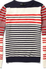 Alexander McQueen Striped Cotton and Cashmere Sweater - Lyst