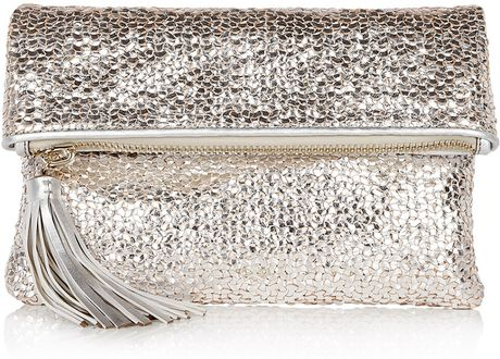 Anya Hindmarch Metallic Woven Silver Huxley Clutch in Silver - Lyst