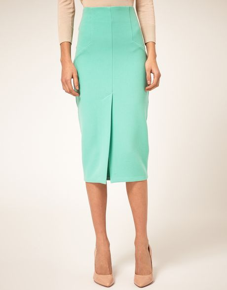asos collection asos pencil skirt with split front in