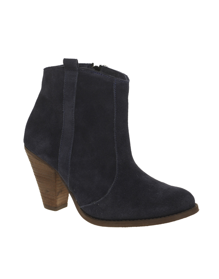 asos asos aggie suede western ankle boots in blue navy