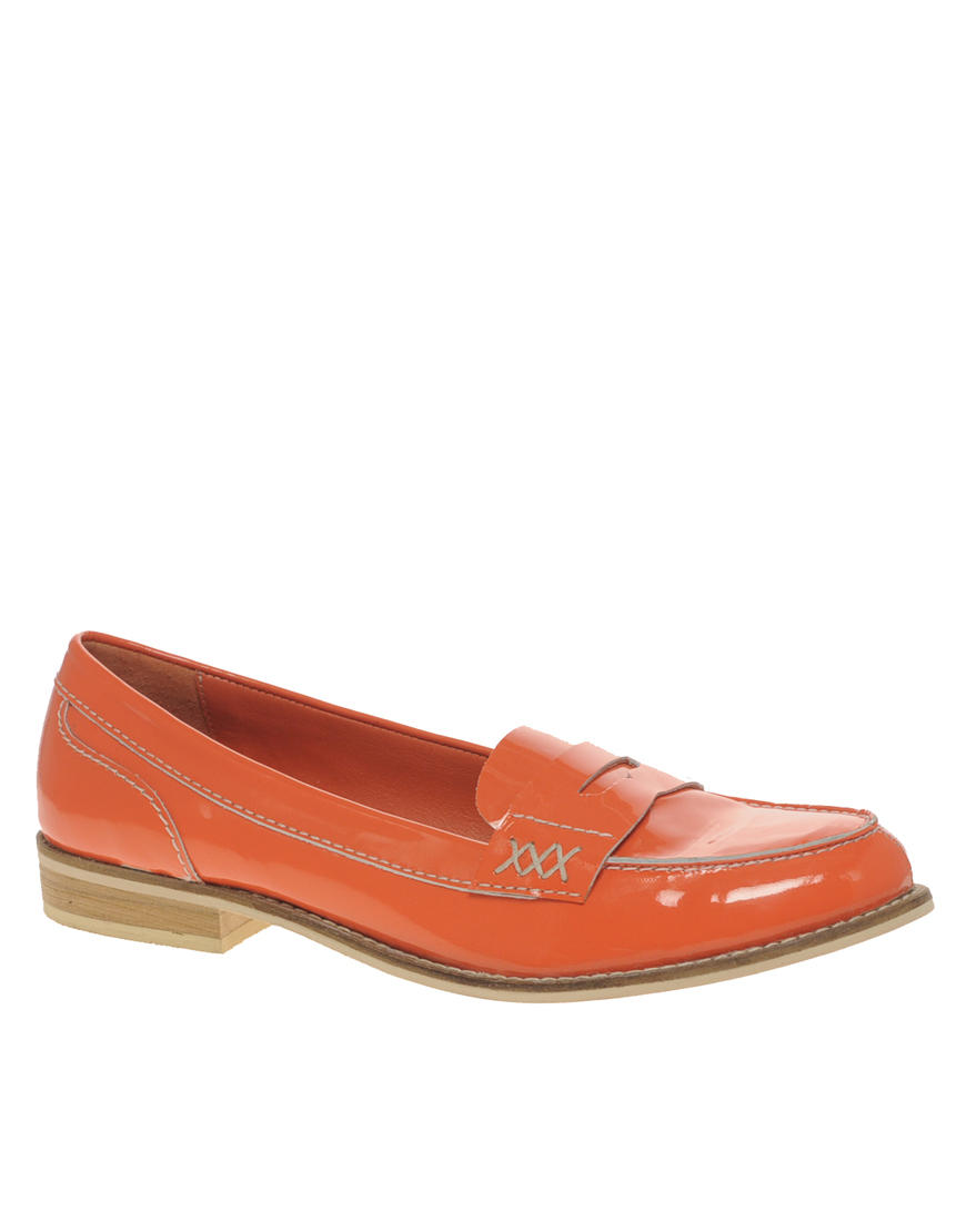 asos asos macabee patent leather loafer in orange lyst