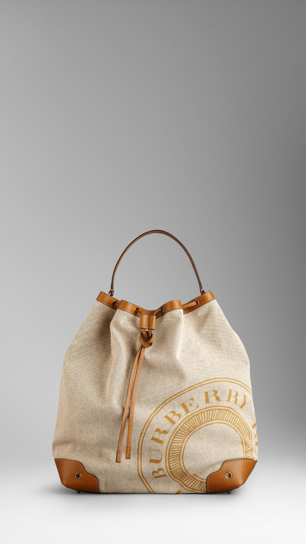 Burberry Heritage Logo Canvas Hobo Bag in Brown (gorse ...