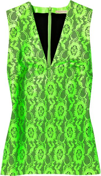 Christopher Kane Lasercut Neon Leather Top in Green - Lyst