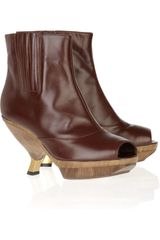 Marni Leather And Wood Ankle Boots - Lyst