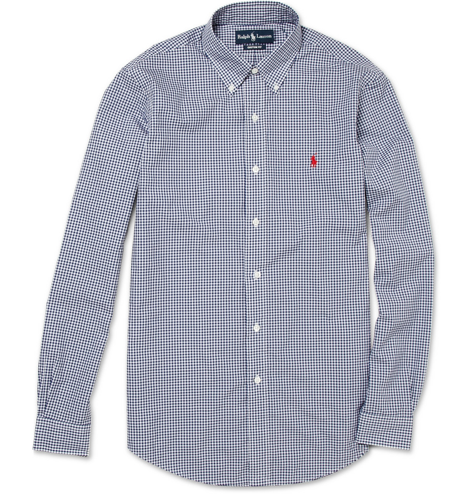 Polo ralph lauren button down collar gingham shirt in blue for Polo ralph lauren casual button down shirts