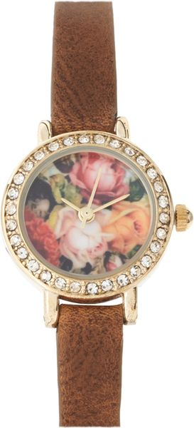 River Island Watch With Floral Face in Brown - Lyst