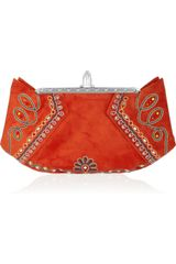 Christian Louboutin Loubis Angel Embroidered Suede Clutch in Red - Lyst