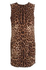 Dolce & Gabbana Leopard Printed Tweed Dress - Lyst