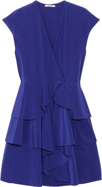 Miu Miu Tiered Silk Crepe De Chine Dress in Purple (blue) - Lyst