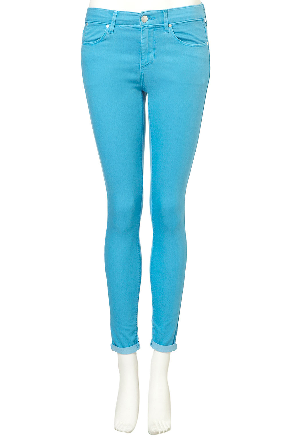 Topshop Turquoise Skinny Leigh Jeans in Blue | Lyst