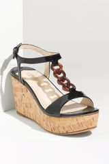 Prada Patent Leather Cork Platform Sandal - Lyst