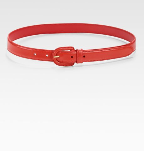 Prada Skinny Madras Leather Belt in Red (nero)