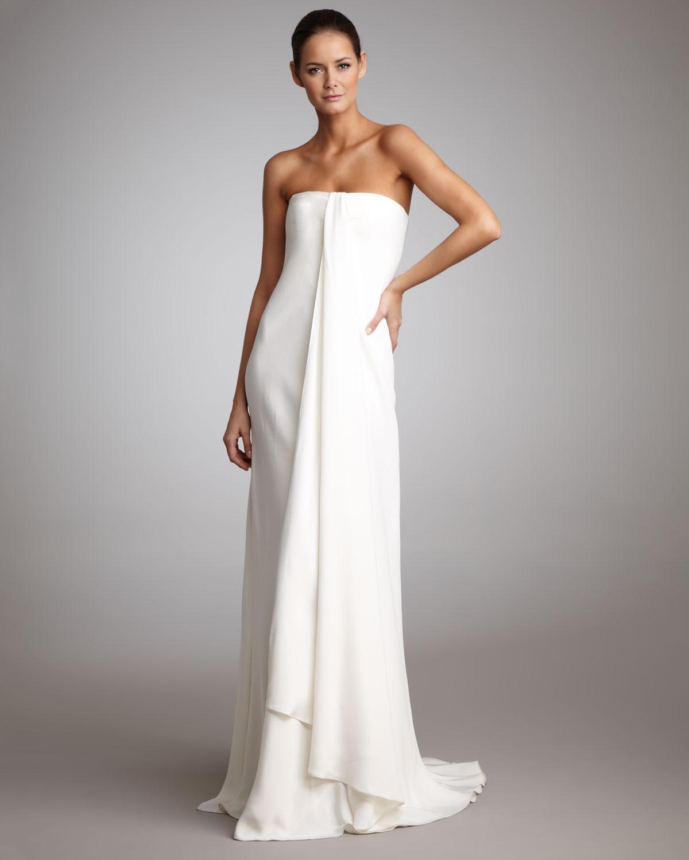 Ralph lauren strapless draped gown in white lyst for Bra for strapless wedding dress
