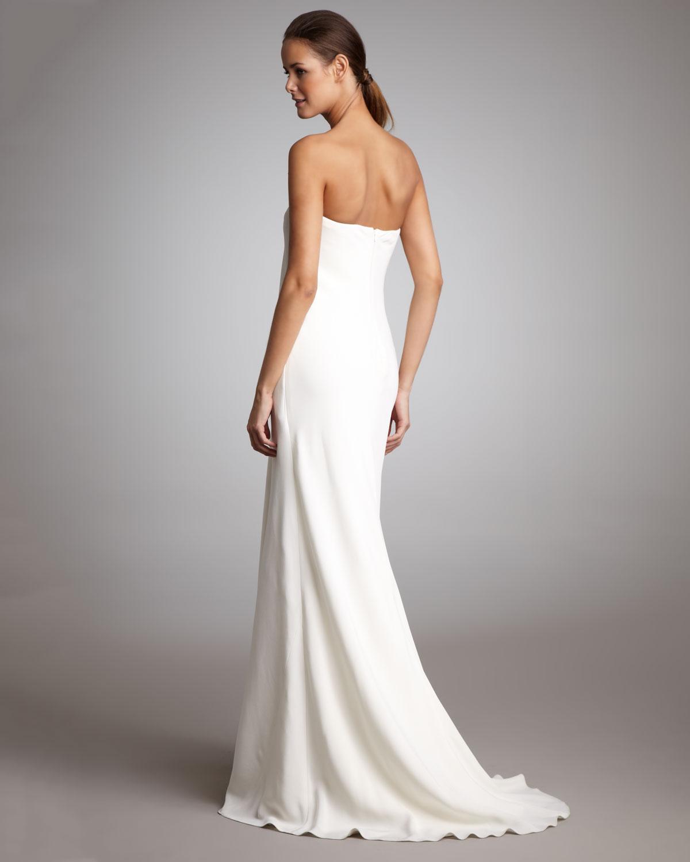 Lyst - Ralph Lauren Strapless Draped Gown in White