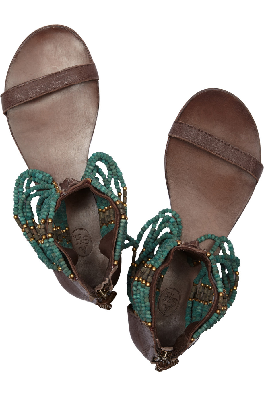 Ash Molly Brown Leather Beaded Thong Sandal In Brown Lyst