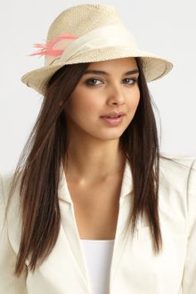 Eugenia Kim Max Suede & Feather Accented Straw Fedora - Lyst