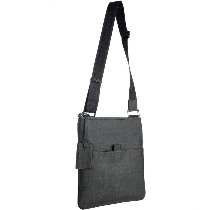 d8f3714d26 ... sweden lyst fendi black zucca spalmati medium messenger bag in black  for men 9d797 8ecb2