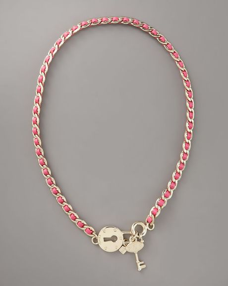 Fendi Lock & Key Necklace, Pink in Pink - Lyst