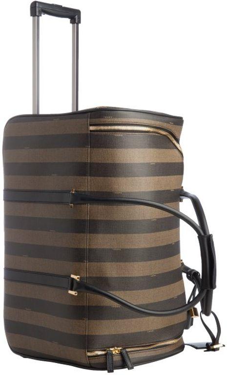 76b3ba7ab402 Fendi Tobacco Striped Coated Canvas Rolling Luggage Bag in Brown (tobacco)