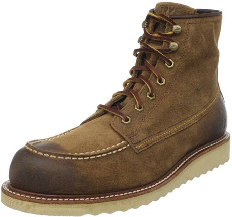 frye mens dakota wedge boot in brown for brown
