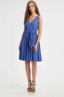 Halston Heritage Dress on Halston Heritage Marine Blue Slinky Jersey Wrap Dress In Blue  Marine