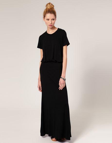 Lna Lna T Shirt Maxi Dress In Black Lyst