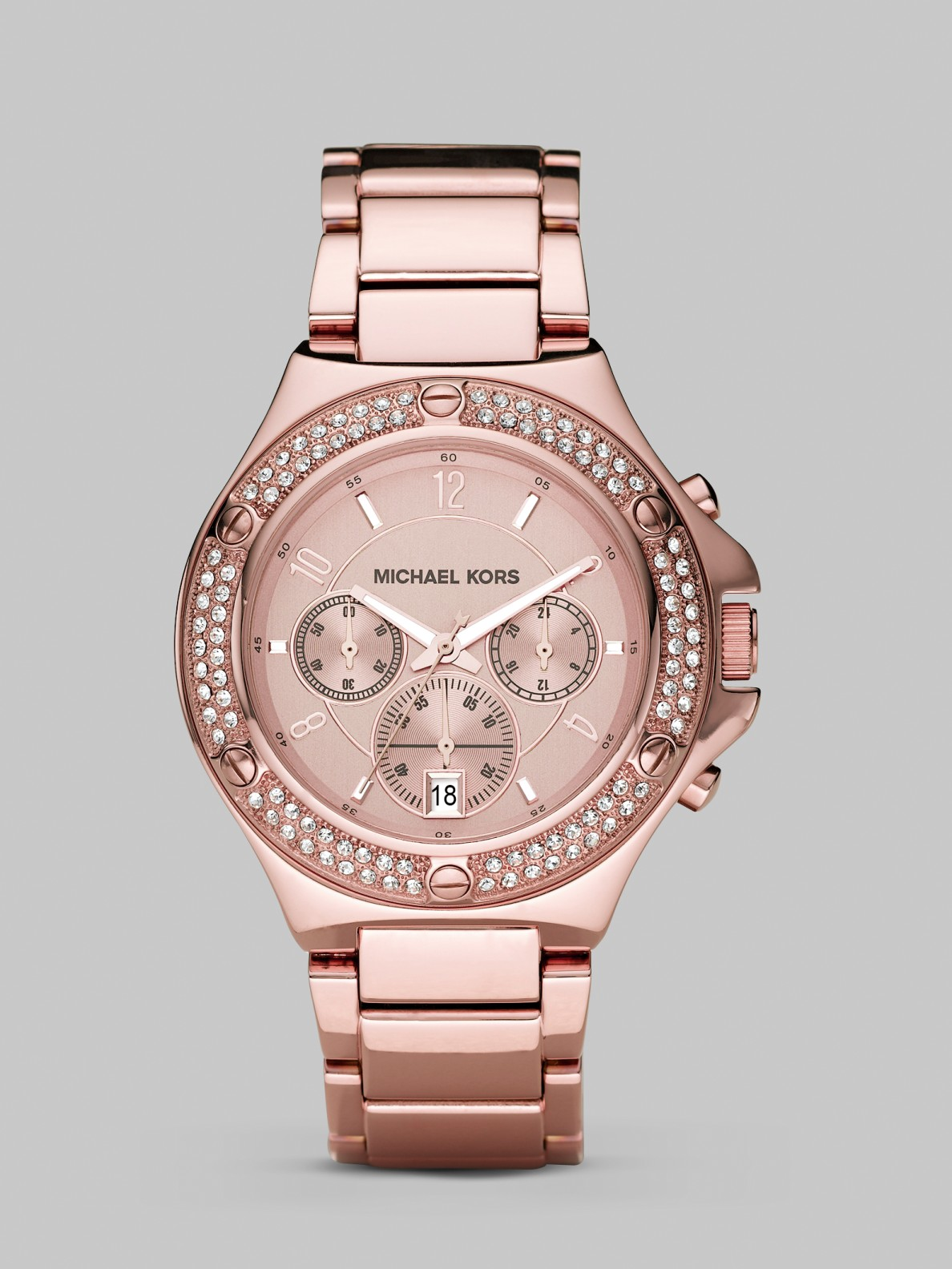 michael kors rose gold stainless steel crystal chronograph watch in pink lyst. Black Bedroom Furniture Sets. Home Design Ideas