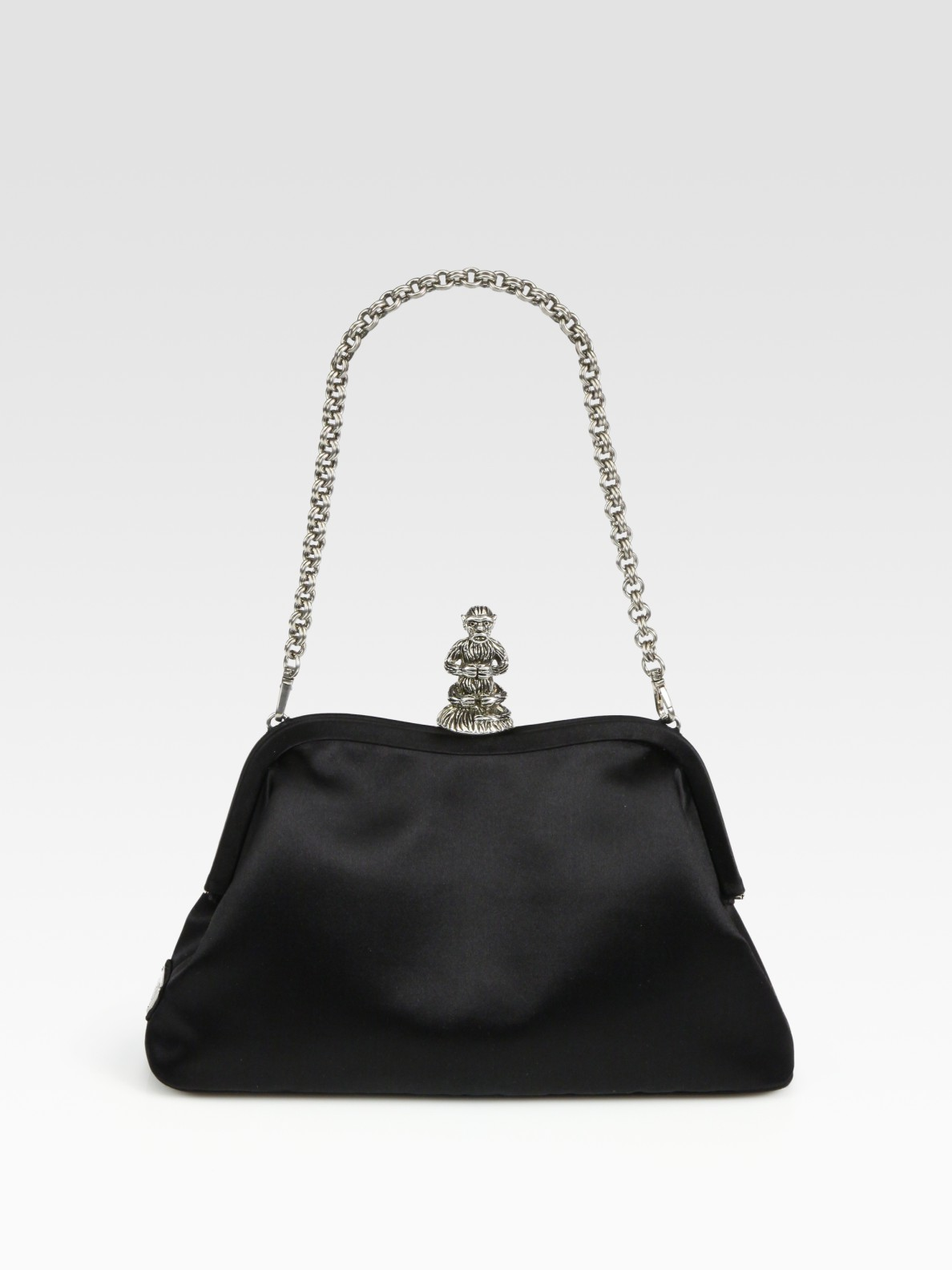 Prada Raso Satin Bag with Monkey Closure in Black | Lyst