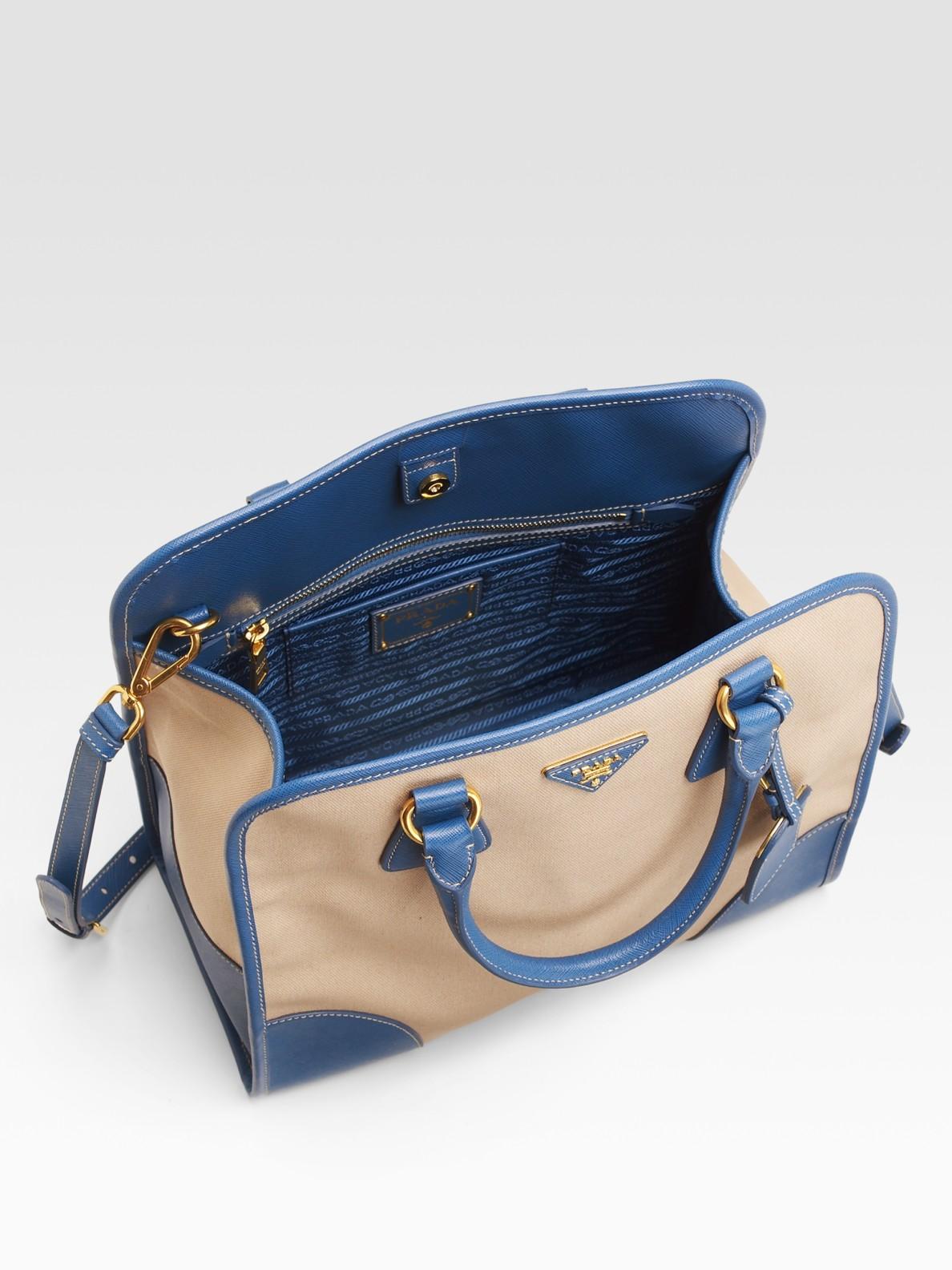 Prada Canvas \u0026amp; Saffiano Framed North-to-south Tote Bag in Blue ...