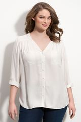 Sejour Pleated V-neck Blouse - Lyst